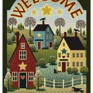 Primitive Country Folk Art Kitchen Refrigerator Magnet - Old Country Village
