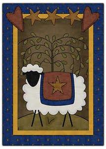Primitive Country Folk Art Kitchen Refrigerator Magnet - Prim Country Sheep #5