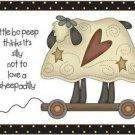 Primitive Country Folk Art Kitchen Refrigerator Magnet - Cute Primitive Sheep #2