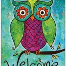 Primitive Country Folk Art Kitchen Refrigerator Magnet - Welcome Cute Owl
