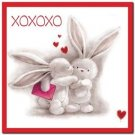 Cute Valentine's Day Love Kitchen Refrigerator Magnet - Xoxoxo Bunny Couple