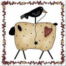 Primitive Country Folk Art Kitchen Refrigerator Magnet -Prim Sheep and Crow