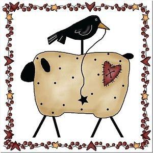 Primitive Country Folk Art Kitchen Refrigerator Magnet -Prim Sheep and Crow