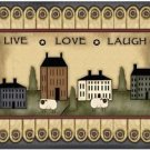 Primitive Country Folk Art Kitchen Refrigerator Magnet - Live Love Laugh