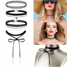 4 Pieces Black Velvet Choker Necklaces Lace Necklace Stretch Gothic Tattoo Chokers