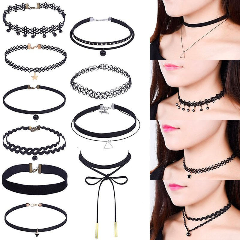 10 Pieces Black Choker Necklaces Stretch Tatto Choker for Women Girls
