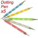 New 5pcs 2 way Dotting Pen Marbleizing Tool Nail Art Dot Paint