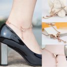 Summer Women Refinement Sexy Butterfly Bell Drop Rose Gold Chain Anklet Bracelet