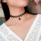 Beautiful Fabric Hollow Out Heart Summer Beach Black Short Chokers Necklaces with Pendant