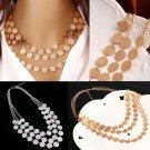 New Women's Fashion Multi-Layer Small Wafer Chain Choker Statement Bib Necklace Jewelry