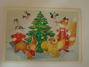 Postcard - USSR, New Year, dance of the animals around the Christmas tree, 1990