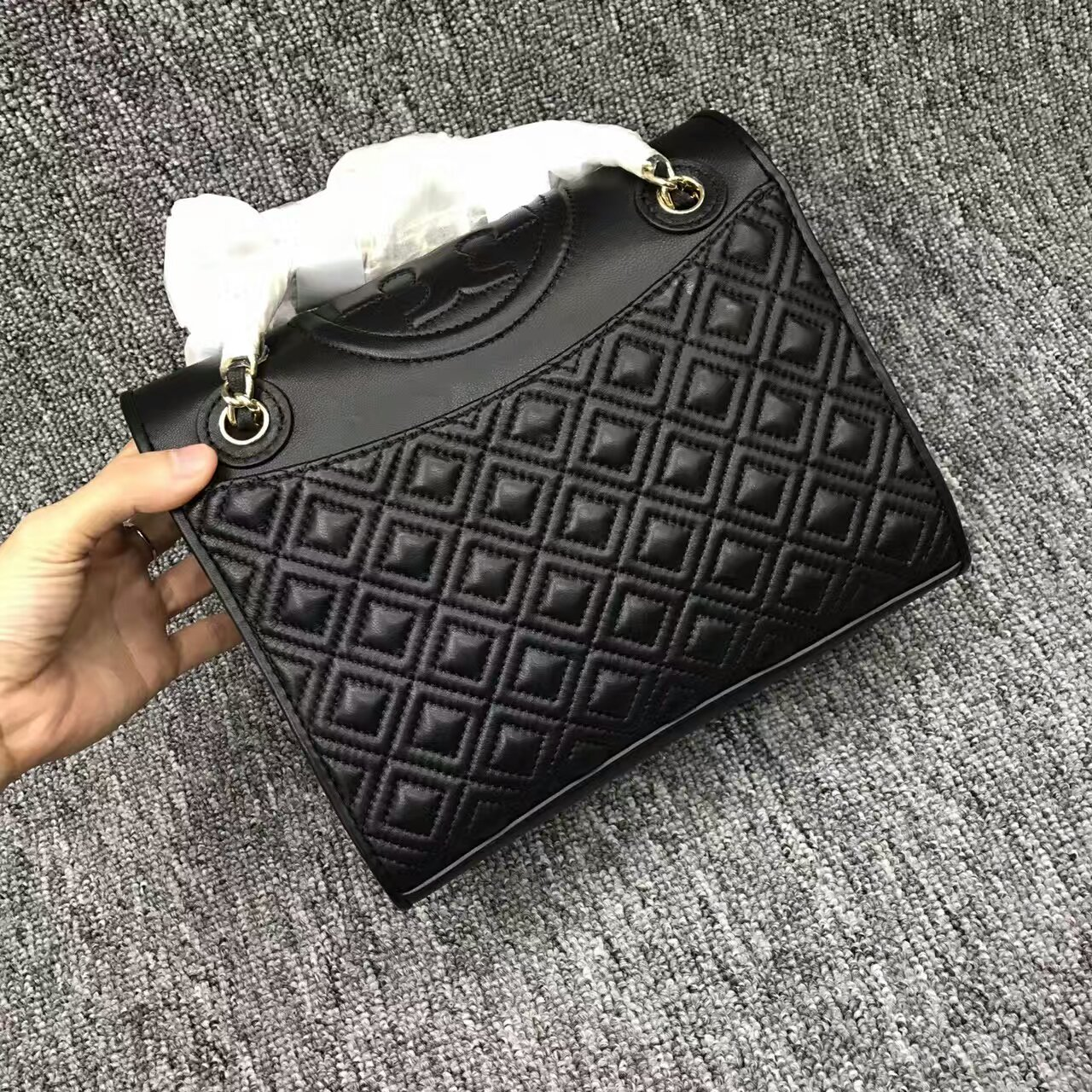 Tory Burch Black Fleming Medium Bag
