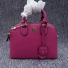Authentic Tory Burch Pink Robinson Pebbled Leather Dome Satchel