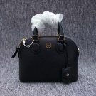 Tory Burch Black Robinson Pebbled Leather Dome Satchel