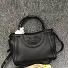Authentic Tory Burch Black Serif-t Small Satchel