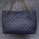 Tory Burch Navy Blue Marion Small Slouchy Tote