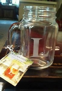 Yorkshire 17.5 oz Mason Jar w/Monogram L