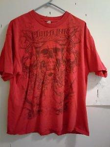 MIAMI INK - SKULLS & SWORDS -X LARGE RED T-SHIRT