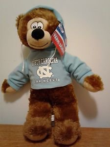 """Toy Factory North Carolina Tarheels Hoodie Hooded Plush Bear 13"""" New with Tag"""
