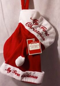 """Holiday Time 12"""" My 1st Christmas Red/White Embroidered Stocking & Hat Set"""