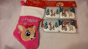 Rudolph the Red Nosed Reindeer 50th Aniversary 4 Books & My 1st Christmas Stocki