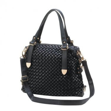 Woven Black Shoulder Bag-10016240