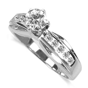 0.85 Ct. Twt. Diamond Engagement Ring in 18k White Gold