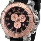 Aquaswiss 39XG087 Mens Watch Rose Gold Tone Bezel Bolt Quartz Chronograph Rubber Strap
