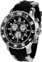 Aquaswiss 96XG002 Mens Watch Rugged Quartz Chronograph Black Dial Bezel Rubber Strap