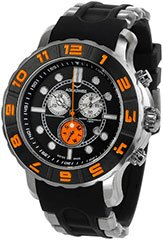 Aquaswiss 96XG056  Mens Watch Rugged Quartz Chronograph Black Dial Bezel Rubber Strap Orange Bezel