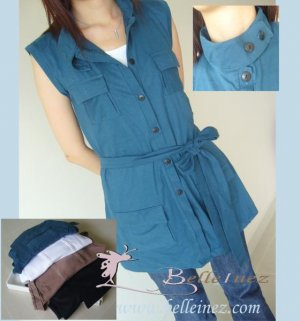 Chic Button Front Sleeveless Top With Belt