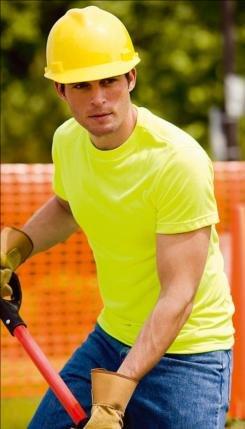 Safety T-Shirt, Fl. Green, Large