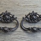 Pair French Rococo cast iron drawer pull furniture handle cabinet AL18