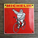 Quality porcelain advertising sign red Michelin man bicycle garage plaque M7