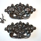Pair of antique style coffin handles cast iron skull & crossbones treasure WH3