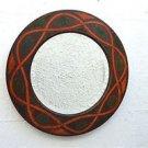Original Arts and Crafts Celtic design pokerwork wall mirror round beveled