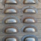 SET OF 10 ANTIQUE PRESSED AGED STEEL DRAWER HANDLE FILING INDUSTRIAL PULL CB11