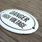 SMALL ANTIQUE STYLE ENAMEL METAL DANGER HIGH VOLTAGE DOOR SIGN DOOR PLAQUE