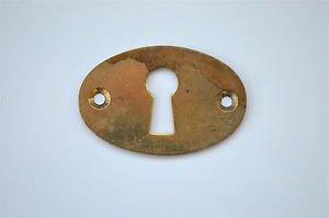 Original antique pressed brass escutcheon plate keyhole box furniture KP8
