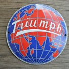 Superb heavy quality porcelain advertising sign Triumph world globe plaque