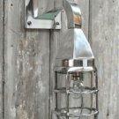 Stylish Miami Art Deco polished metal wall light caged bulkhead lamp nautical N