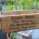 Handmade vintage pine wine merchants crate rope handles box S2