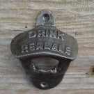 Vintage cast iron DRINK REAL ALE wall mounted bottle opener cap remover AL63