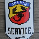 Superb heavy quality porcelain advertising sign Abarth service garage plaque