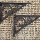 Pair of antique cast iron simple Edwardian wall shelf brackets bracket AL31