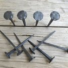 Set of 10 large handmade wrought iron flat hammered nails coat hangers pegs SN3
