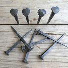 Set of 10 large handmade wrought iron shaker heart nails coat hangers pegs SN1