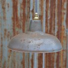 RETRO STYLE RUSTY STEEL PENDANT LIGHTSHADE WHITE INTERIOR CEILING LIGHT FG2G3