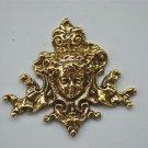 Small antique style cherubs head solid brass furniture mount ormalu H8