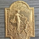 Superb small Victorian gilt brass lady cartouche mount furniture ormalu RZ2